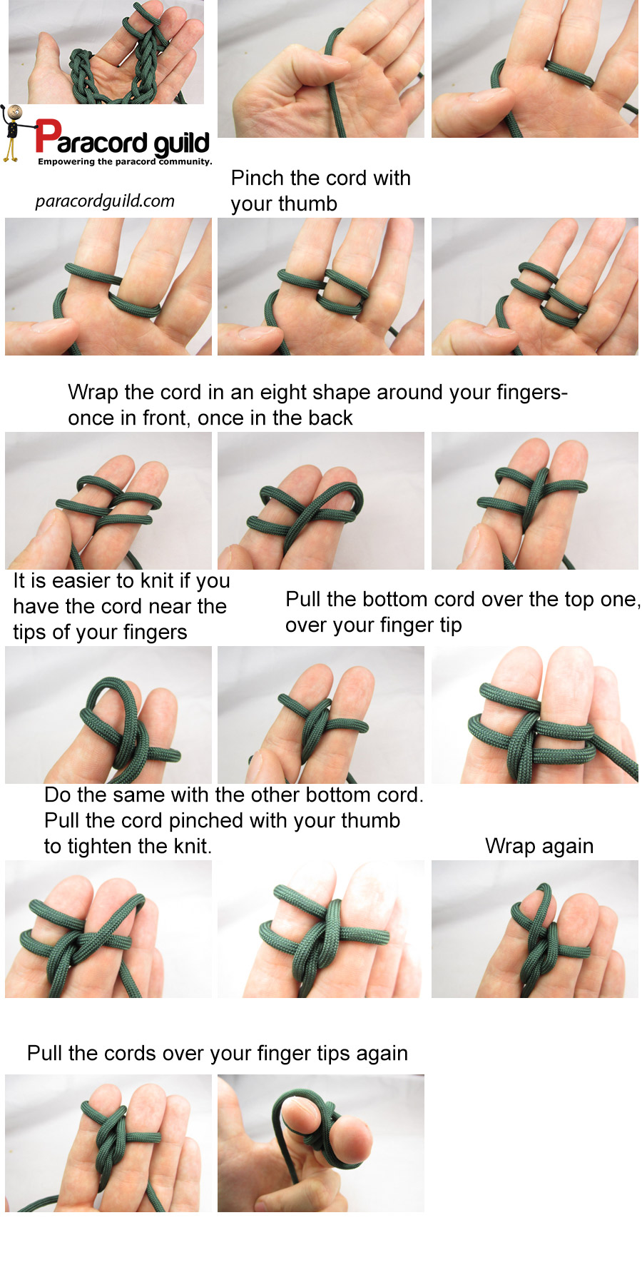 finger knitting paracord