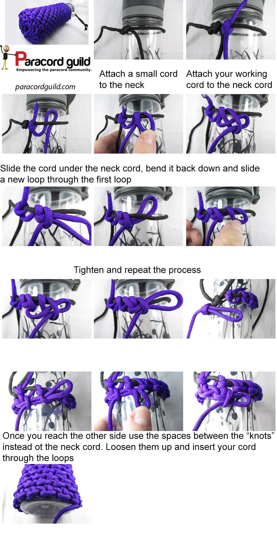 chain sinnet paracord bottle wrap tutorial