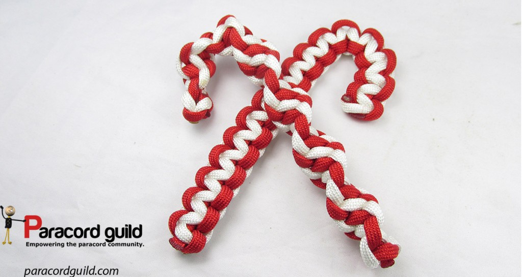 Two candy canes cross paths.