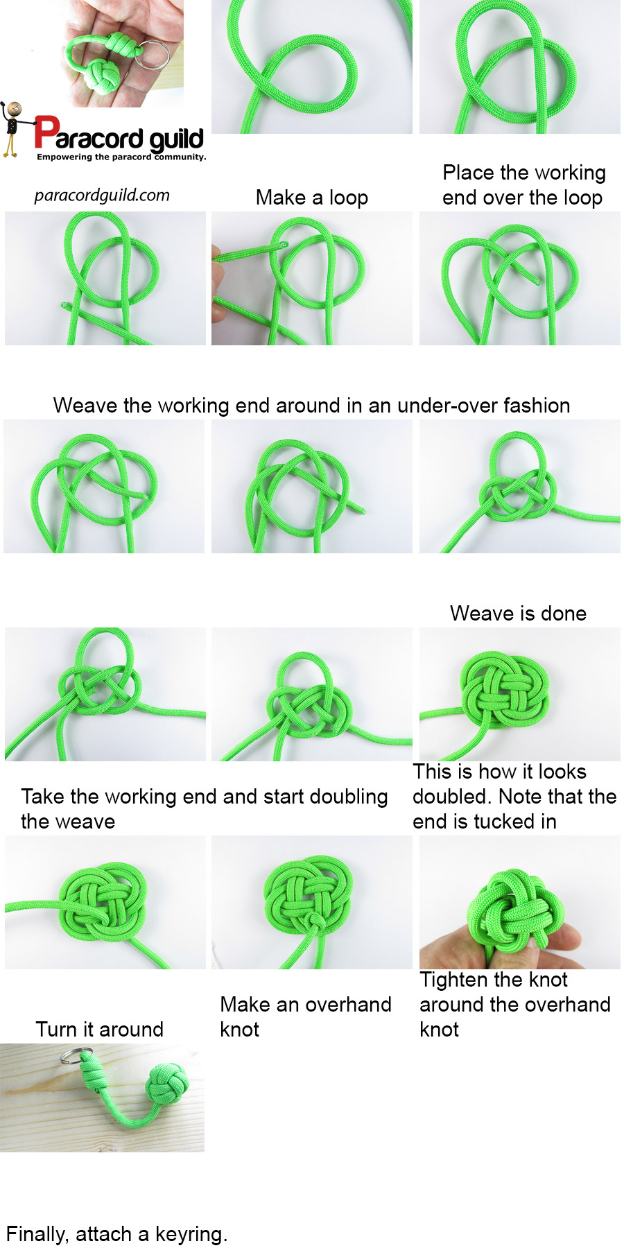 How to tie a paracord keychain paracord guild for How to make a keychain out of paracord