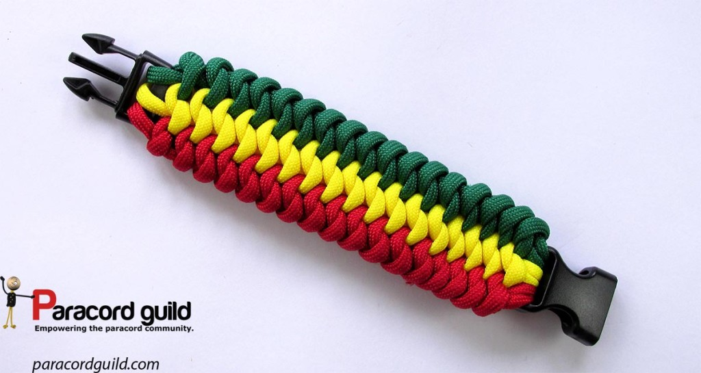The bracelet in rasta colors.