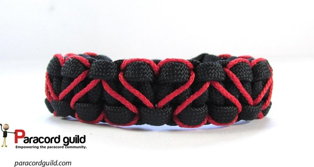 heart stitched paracord bracelet