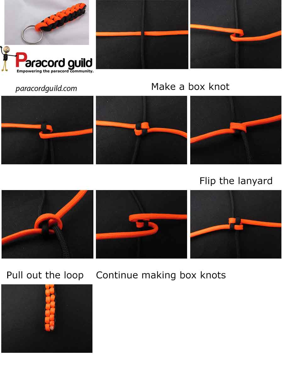 Box Knot Paracord Keychain Guild Square Diagram
