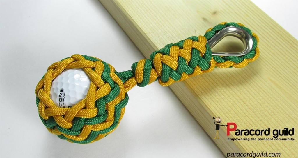 Be sure that any markings on the gold ball do not show when you place the pineapple knot.