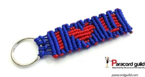 heart paracord key fob blue red